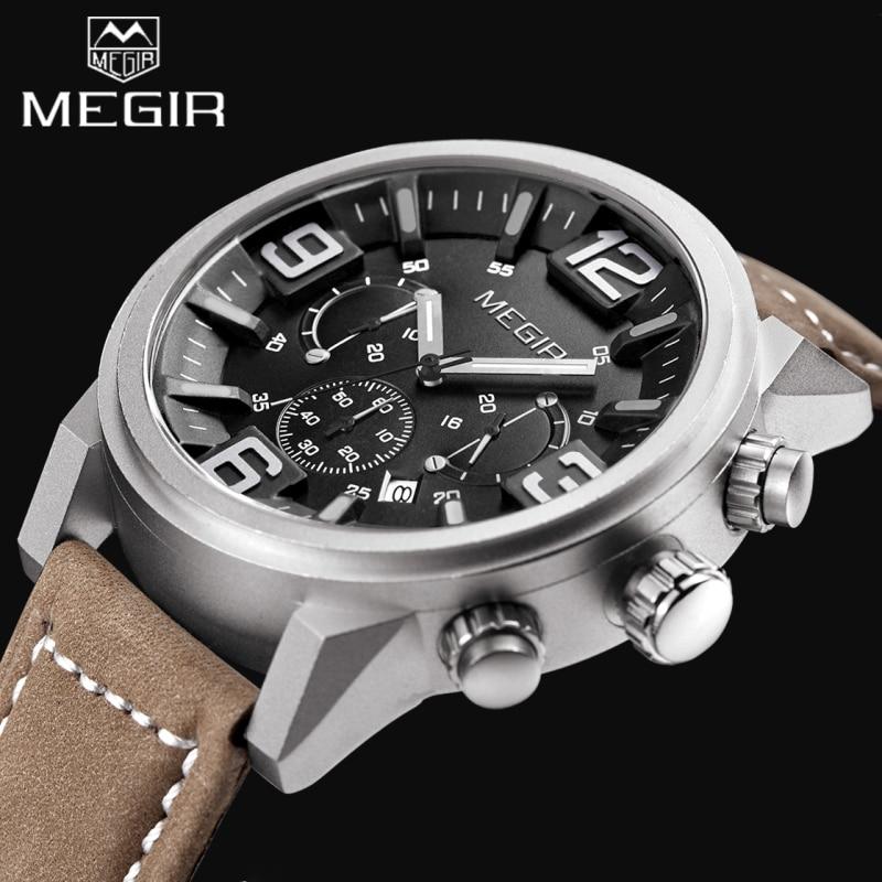 ФОТО 2017 Top Luxury Brand MEGIR Sports Watches Men's Quartz Chronograph Big Dial Clock Leather Wrist Watch relogio masculino relojes