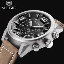 2017 Top de Luxo Da Marca MEGIR Relógios Desportivos Cronógrafo de Quartzo Grande Mostrador do Relógio dos homens Relógio de Pulso de Couro relojes relogio masculino