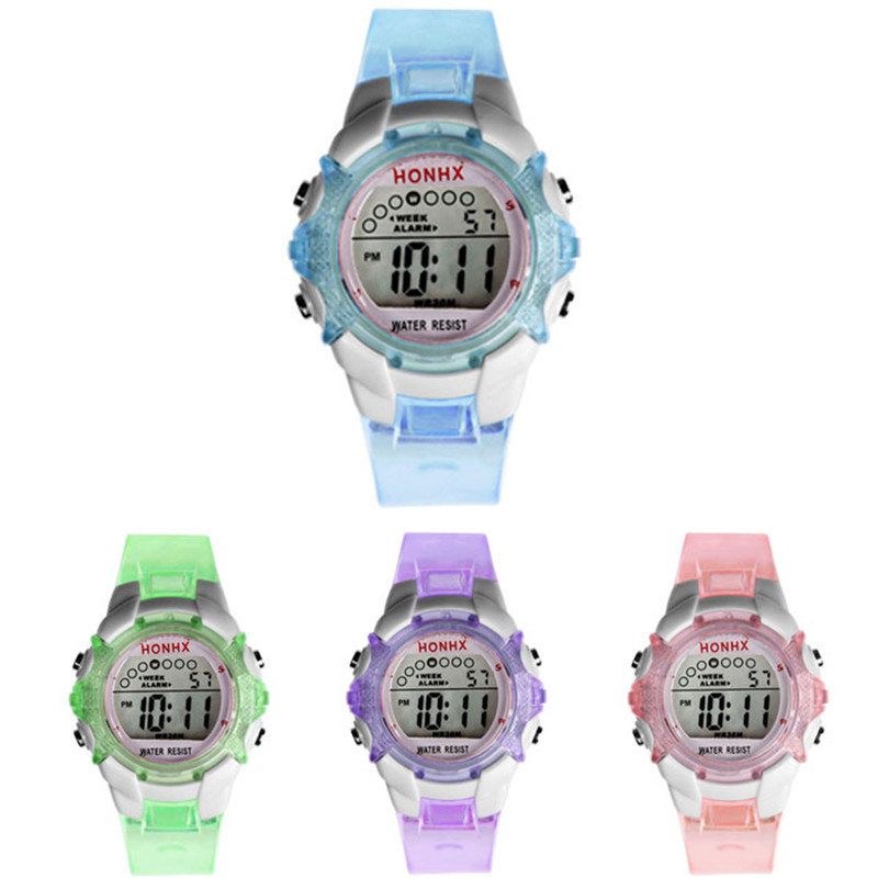 Montre Enfant Garcon Waterproof Children Girls Digital LED Quartz Alarm Date Sports Wrist Watch In Pink Blue Green And Purple
