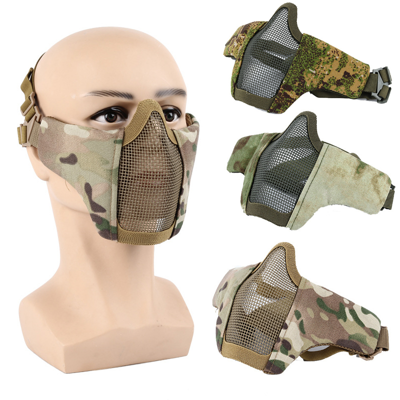 New 2018 Half Lower Face Metal Steel Net Mesh Hunting Tactical Protective Airsoft Mask Halloween Party