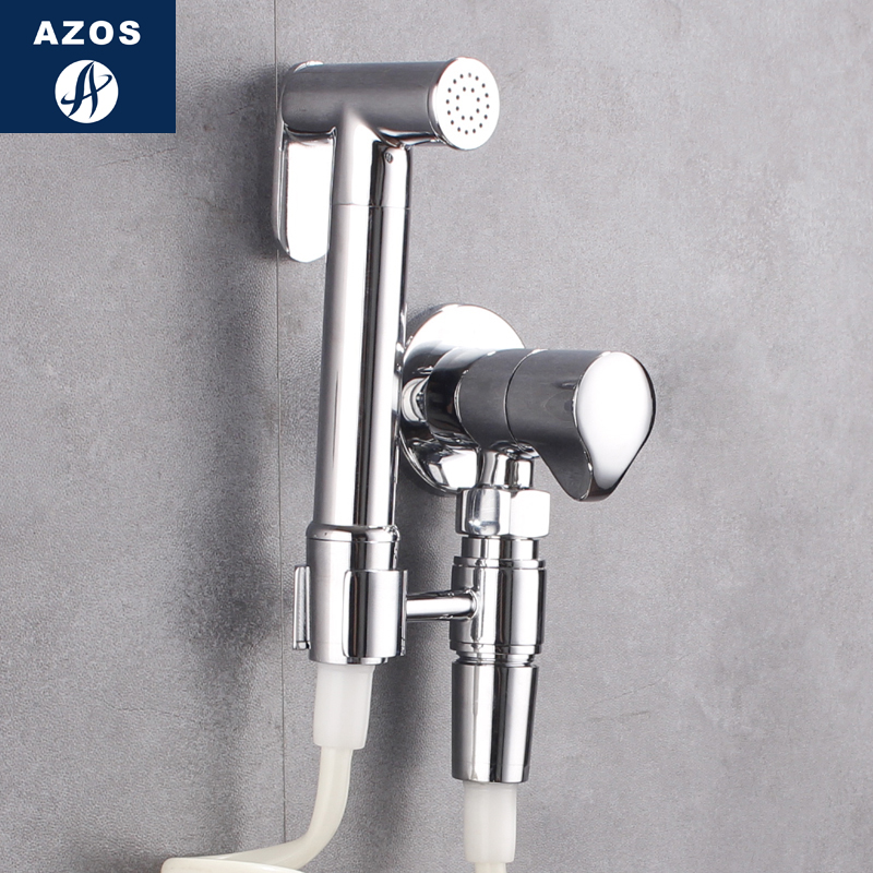 Azos Bidet Faucet Pressurized Sprinkler Head Brass Chrome Cold Water Single Function Washing Machine Pet Bath Toilet Round PJPQ0