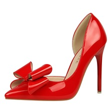 Hot Sale Dress Pumps Women Butterfly-knot Patent Leather Sexy Heels Bigtree Shoes Stiletto Extreme High Heel Wedding Shoes K0003 недорого