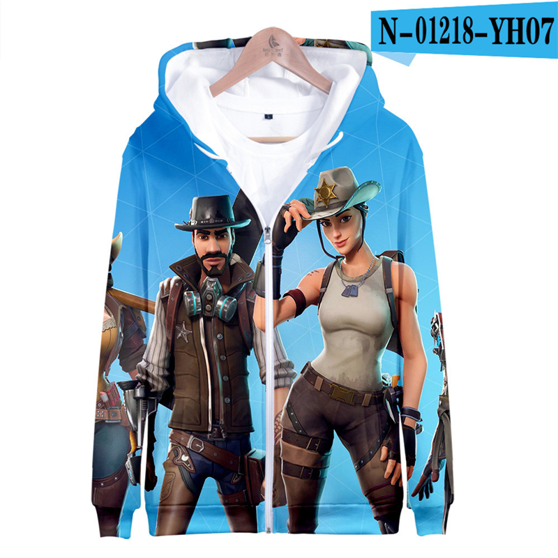 Zipper Fortnited Battle Royale Hoodie Funny Moletons Hooded Women Clothes Men 3D Print Children Clothing Fortnight Streetwear
