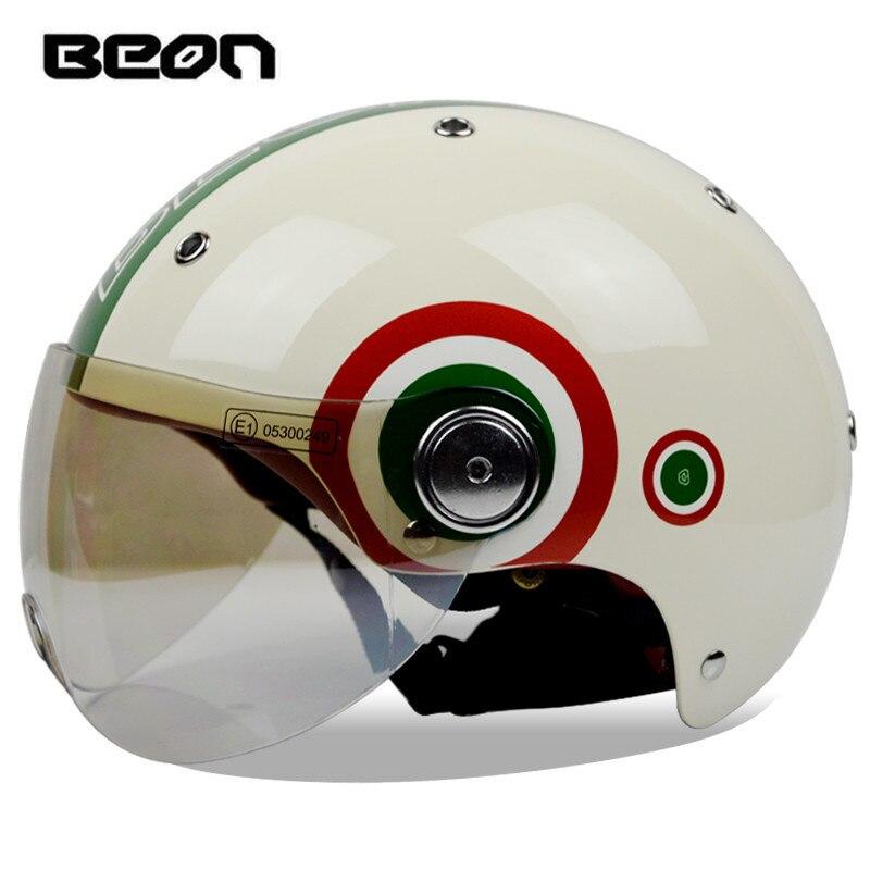 1fbc7fd1ac4a8 Marca BEON B-103 metade capacete scooter capacete Verão E moto-capacete do  vintage