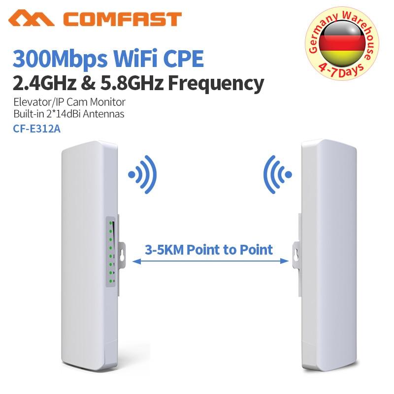 3-5 KM sans fil pont 5.8 GHz 300 Mbps extérieur Wifi CPE routeur 2 * 14dbi antenne Wifi répéteur Point d'accès sans fil CPE