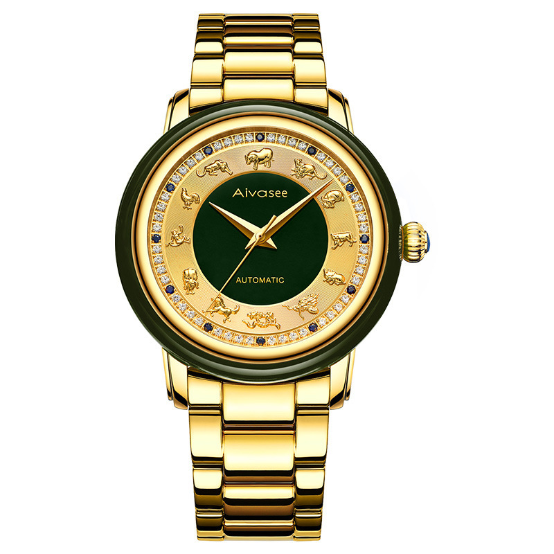 2020 New Automatic Mechanical Watches Gold Set Auger 12 Zodiac Watch Of Wrist Of Men's And Women's Leisure Style