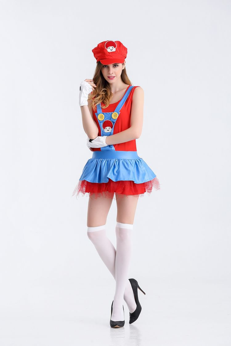 Halloween sexy anime cosplay Costumes Hot  Super Mariou bros figures lace lovey skirt Set  Party MARIO  Costume for women 2119