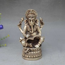 "Details about  7"" China Silver Bronze Buddhism Elephant Ganesha God of Wealth Statue"