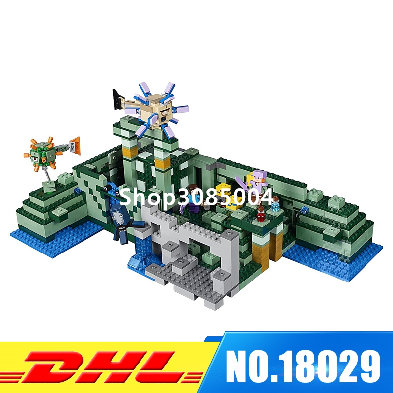 Lepin 18029 828pcs My Worlds Ocean Monument Underwater Temple Building Block Compatible 21136 Brick Toy new 18029 my world series the ocean monument model building blocks set compatible 21136 classic architecture toy for children