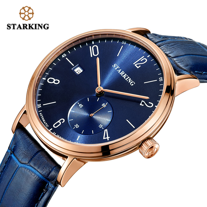 <font><b>STARKING</b></font> Mens <font><b>Watches</b></font> Top Brand Luxury Men Automatic Mechanical <font><b>Watch</b></font> Blue Dial Auto Date Leather Sapphire Wristwatches AM0232 image