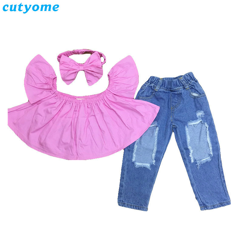 Baby Girls Clothing 3pcs Set Bow Headband+Princess Short Sleeve T-shirts+Ripped Jeans Suits Kids Girl Party Beach Clothes Outfit