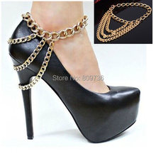 Sexy Women Gold Tone 3 Row Drapped Ankle Chains Anklet Foot Bracelet Chain For Heel Shoe