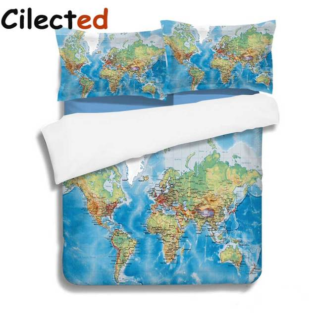 cilected design world map bedding set blue ocean duvet cover with pillow covers soft bedclothes 3pcs