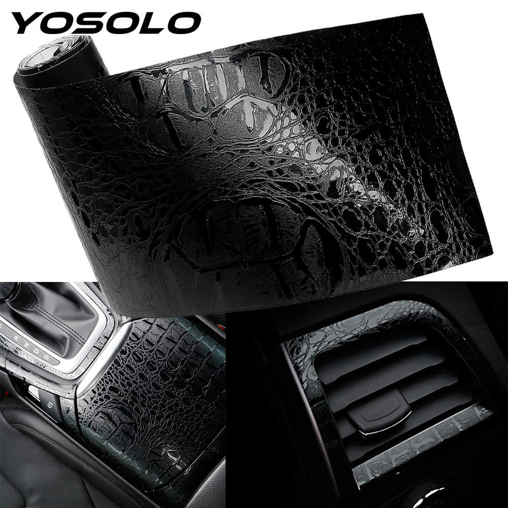 YOSOLO Auto-interieur Stickers Auto Sticker Wrap Film Simulatie Krokodil Styling Lederen Interieur Decor Decals 150*10cm