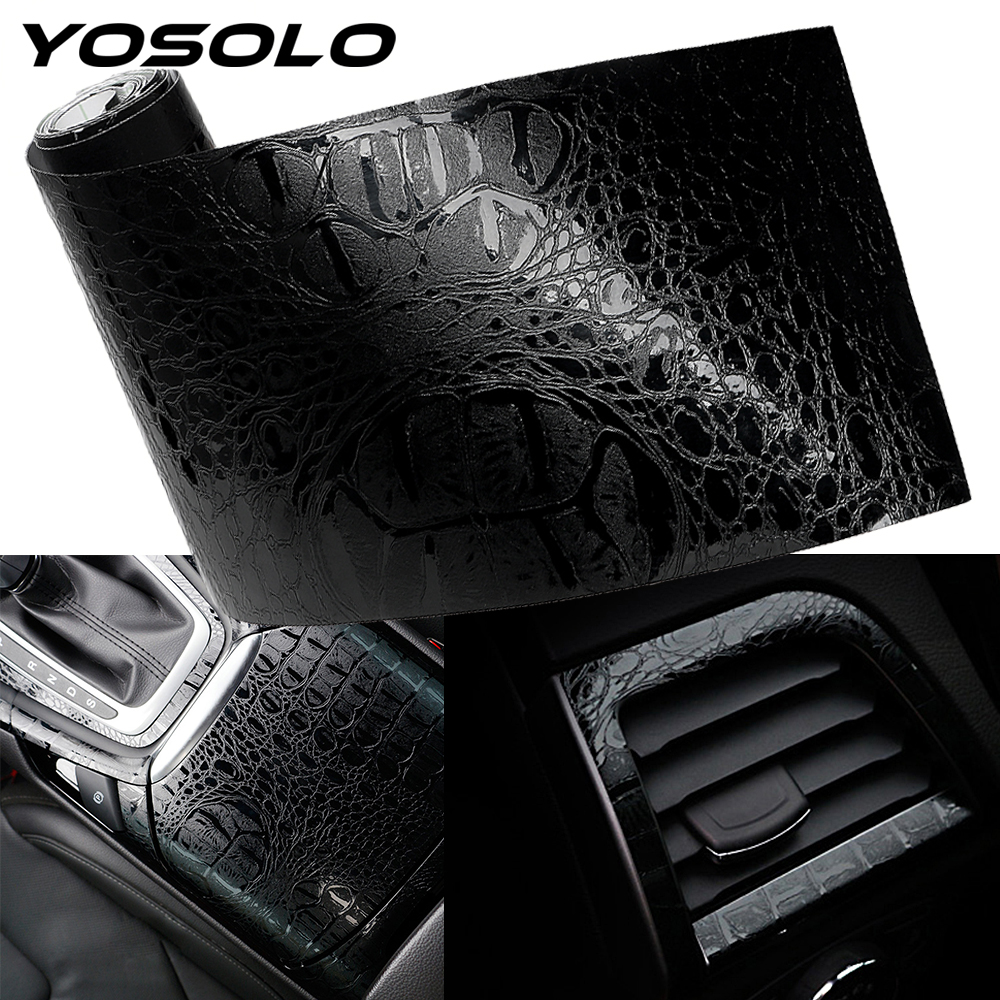 YOSOLO ภายในรถยนต์สติ๊กเกอร์รถสติกเกอร์ฟิล์มจำลองจระเข้จัดแต่งทรงผมหนังตกแต่งภายใน Decals 150*10 ซม.