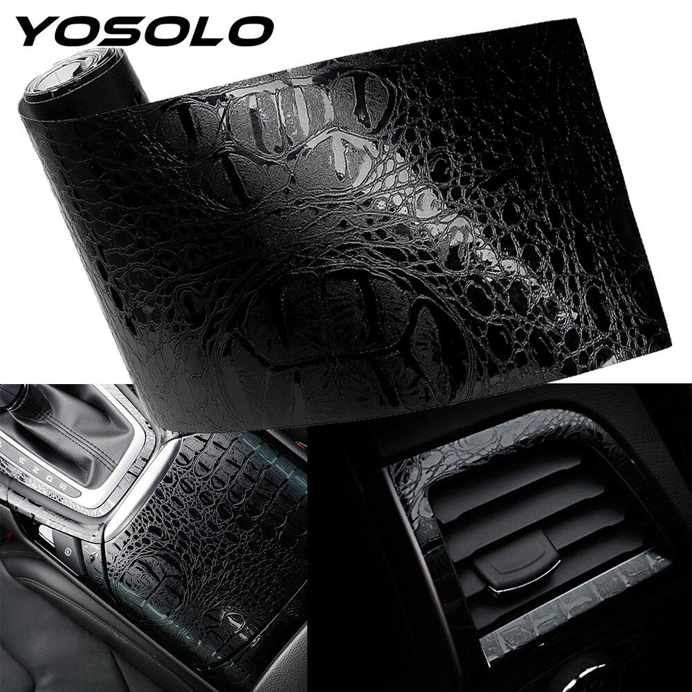 YOSOLO-autocollants de décor intérieur | Étiquette pour intérieur automobile, Simulation du Crocodile, en cuir, 150*10cm