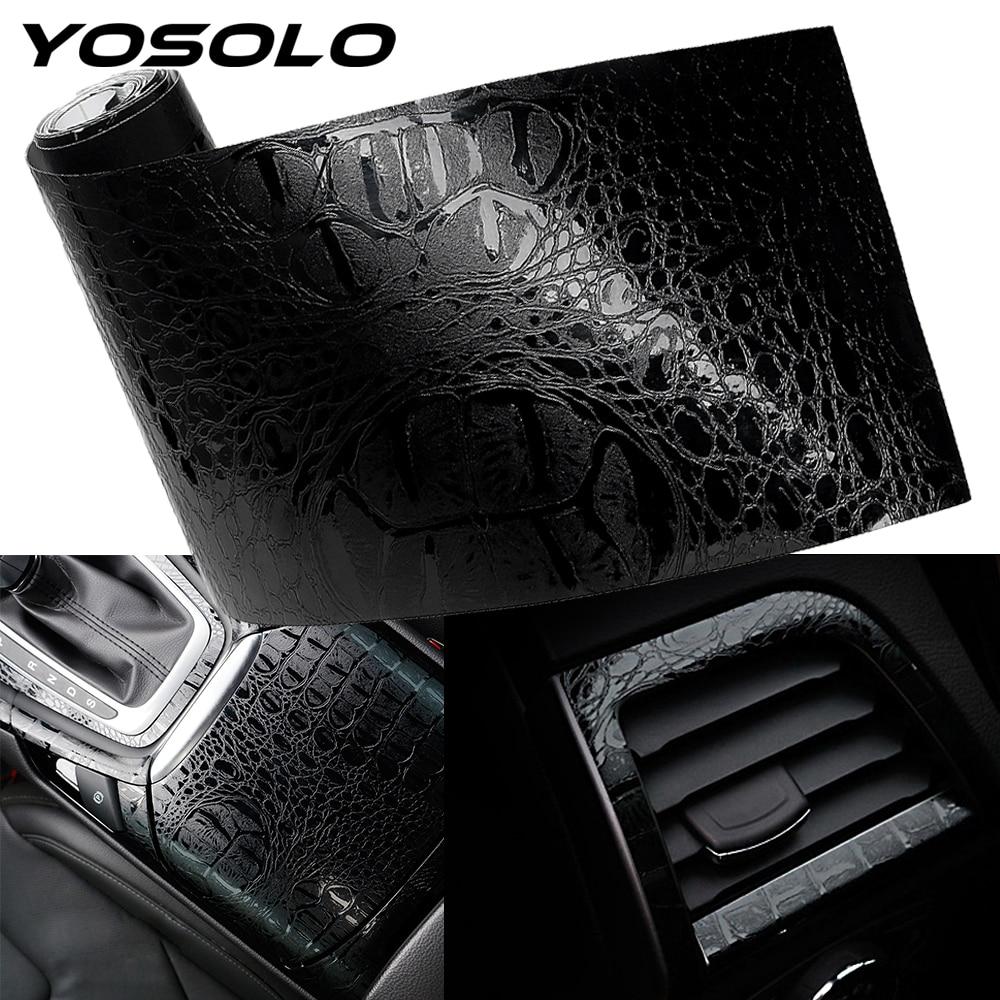 YOSOLO otomotiv iç çıkartmalar araba Sticker Wrap Film simülasyon timsah stil deri iç dekor çıkartmaları 150*10cm