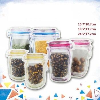 400pcs/lot Wholesale Mason Jar Shaped Food Container Plastic Bag Clear Mason Bottle Modeling Zippers Storage Snacks Plastic Box