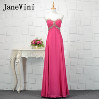 JaneVini Sequins Beads Fuchsia Chiffon Long Bridesmaids Dresses Formal Prom Dresses for Women Floor Length Vestido Largo Flores