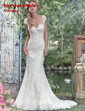 BacklakeGirls Cap Sleeve Lace Appliques Custom Made Bride Gown 2017 Mermaid Wedding Dresses Vestido De Noiva