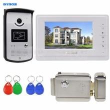 DIYSECUR 7 inch Color Video Door Phone Video Intercom System 700TVL LED Camera RFID Keyfobs Electric Lock Unlock