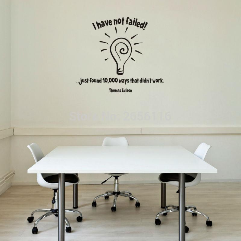 Slavný Thomas Edison Citáty Žárovka Nástěnná Nálepka Nezklamal jsem Vinylové nálepky na zeď pro domácí kancelář