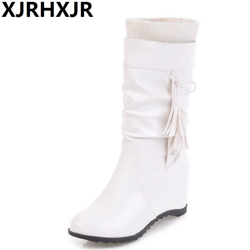 XJRHXJR Size 34-43 Women Half Short Height Increasing Boots Mid Calf Boots White Shoes Winter Boots Short Botas Women Footwears double buckle cross straps mid calf boots