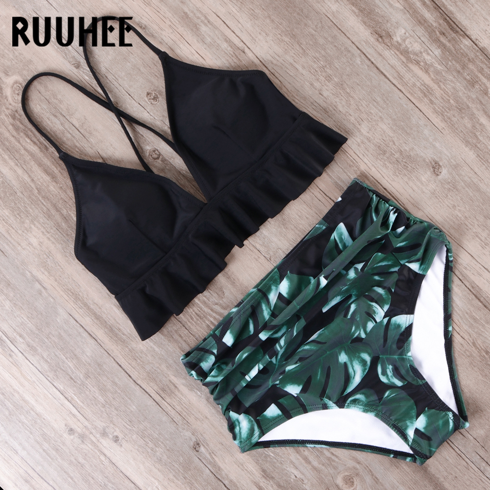 RUUHEE Bikini 2019 Swimsuit Women Swimwear Bikinis Set Push Up Bathing Suit Female Beach Wear High Waist Swimming Suit With Pad 1