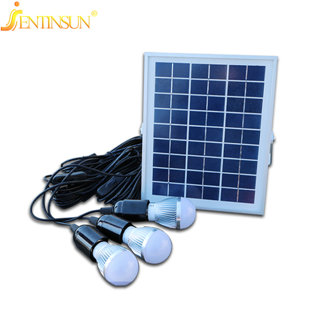Wonderful Solar System Lighting Part - 3: 5W High Efficiency Solor Panel Indoor-Outdoor Powered Led Lighting System  Light Lamp 3 Bulb