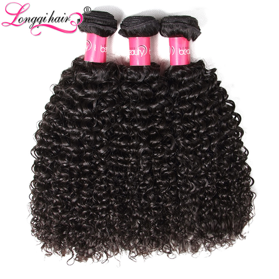 Longqi Hair Peruvian Curly Hair Bundles 3pcs lot 100 Curly Human Hair Weaves Natural Color Remy