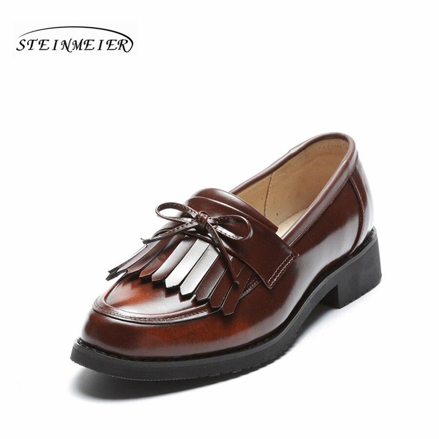women flat casual shoes 100% genuine cowskin leather bow tassel black brown flat round toe handmade retro brogue handmade shoes handmade 100