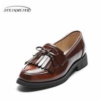 women flat casual shoes 100% genuine cowskin leather bow tassel black brown flat round toe handmade retro brogue handmade shoes