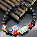 Natural 7-8mm black pearl beads strand bracelet for women high grade cloisonne party gifts new fashion diy jewelry 7.5inch B2968