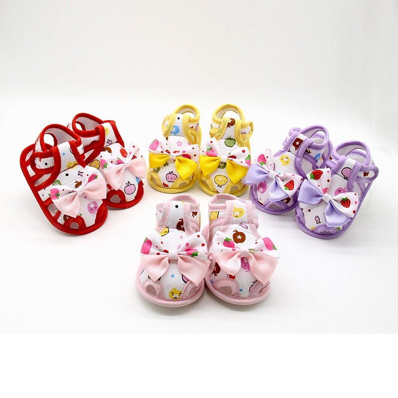 0-18M Baby Girls Bow-knot Printed Princess First Walkers Summer Cute Toddler Infant Breathable Shoes Prewalkers Newborn Shoes
