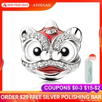 ATHENAIE 925 Sterling Silver Clear CZ Mixed Enamel Chinese Lion Dance Charms Red Enamel Beads Fit Bracelets Gifts For Women