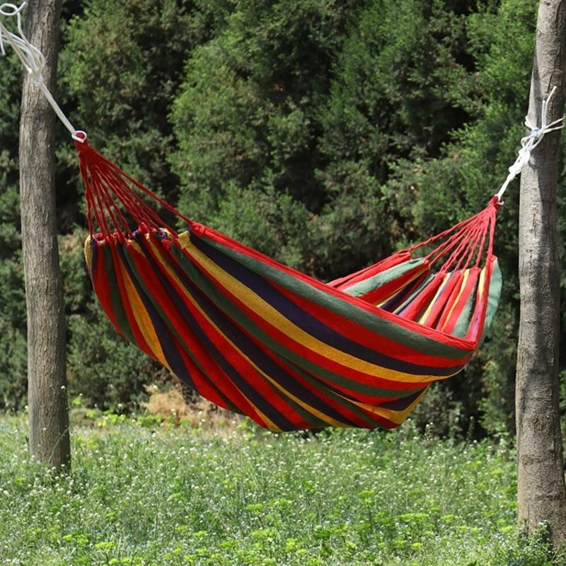 3pcs Adult Rainbow Canvas Single Double Hammock + Tied Rope + Storage Bag Rollover Swing Ice Mesh Hammock Patio Swings