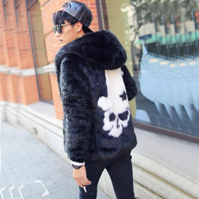 e1f6d9def Hot new men fashion faux fur coats White skull rabbit fur overcoats Slim  fit black hooded leather bomber jacket Plus Size S~4XL