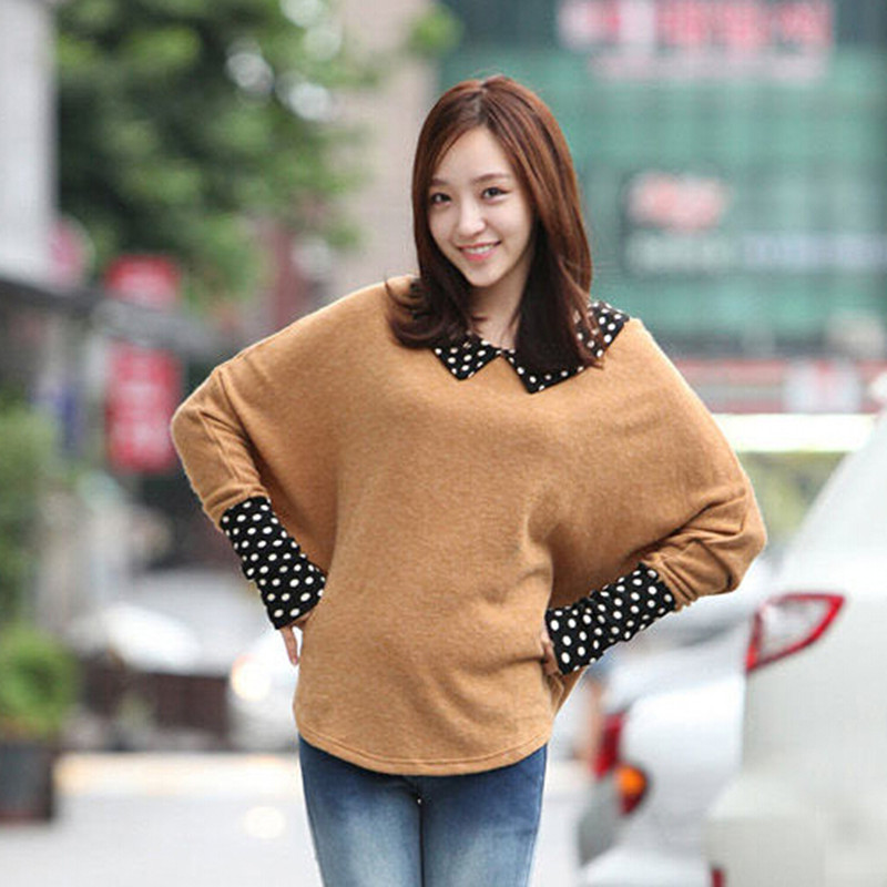 Spring Women's  Thin Pullover Sweet Doll Collar Loose Coat Bat Sleeve Polka Dot Pullovers Lady Tops Free Shipping