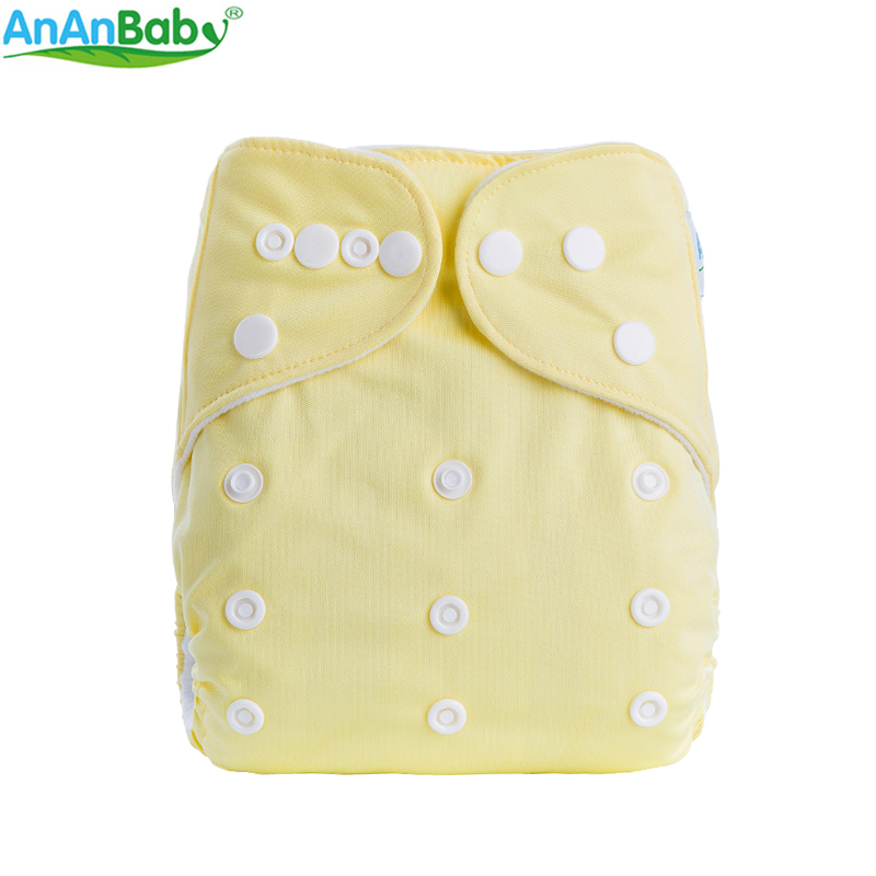 AnAnBaby Solid Color Cloth Diapers 2018 Breathable Baby Nappy Reusable Baby Diaper One Size 0-3 Years A-Series Kawaii Nappies
