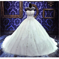 Custom 2017 Luxurious Ball Gown Wedding Dresses Real Image Sweetheart Cathedral Train Lace-up Beading Crystal Bridal Gown