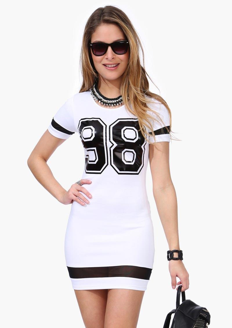 Varsity Jersey Dress Plus size Number 98 Print Hollow Out Clothing ...