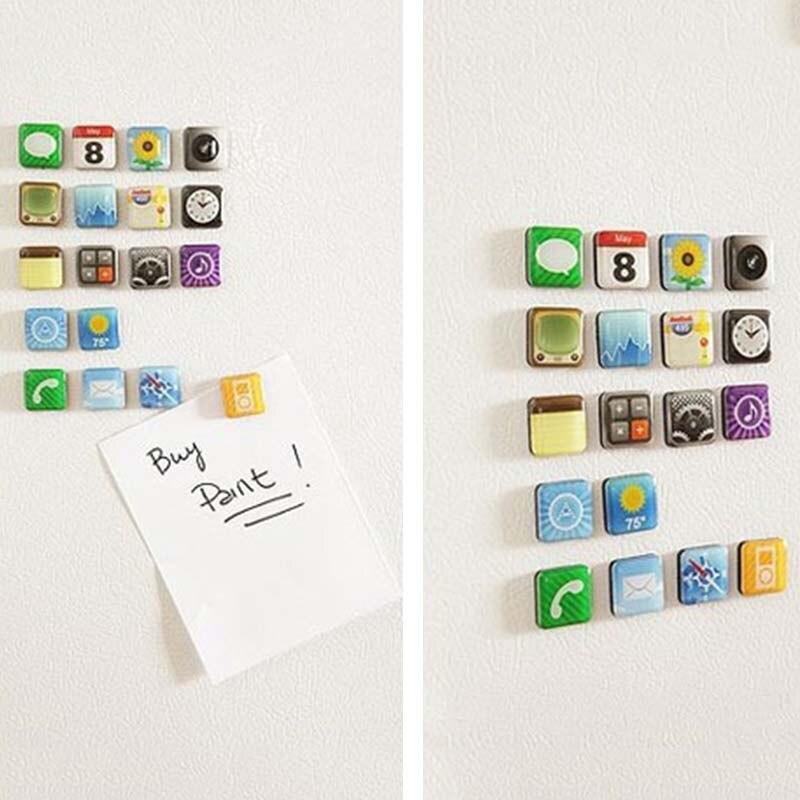 Novelty18 Pieces/set Mobile app Type Fridge Magnet Fridge Sticker APPLE APPS ICON Whiteboard Refrigerator Magnets Memo