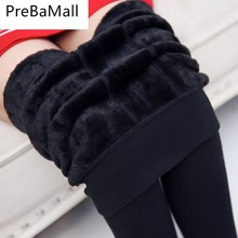 Autumn Winter Spring Fashion Explosion Model Plus Thick Velvet Warm Seamlessly Integrated Inverted Leggings Warm Pants C10