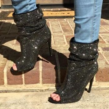 high quality real photo woman rhinestones peep toe ankle high heel boots black crystal bling bling ankle boots