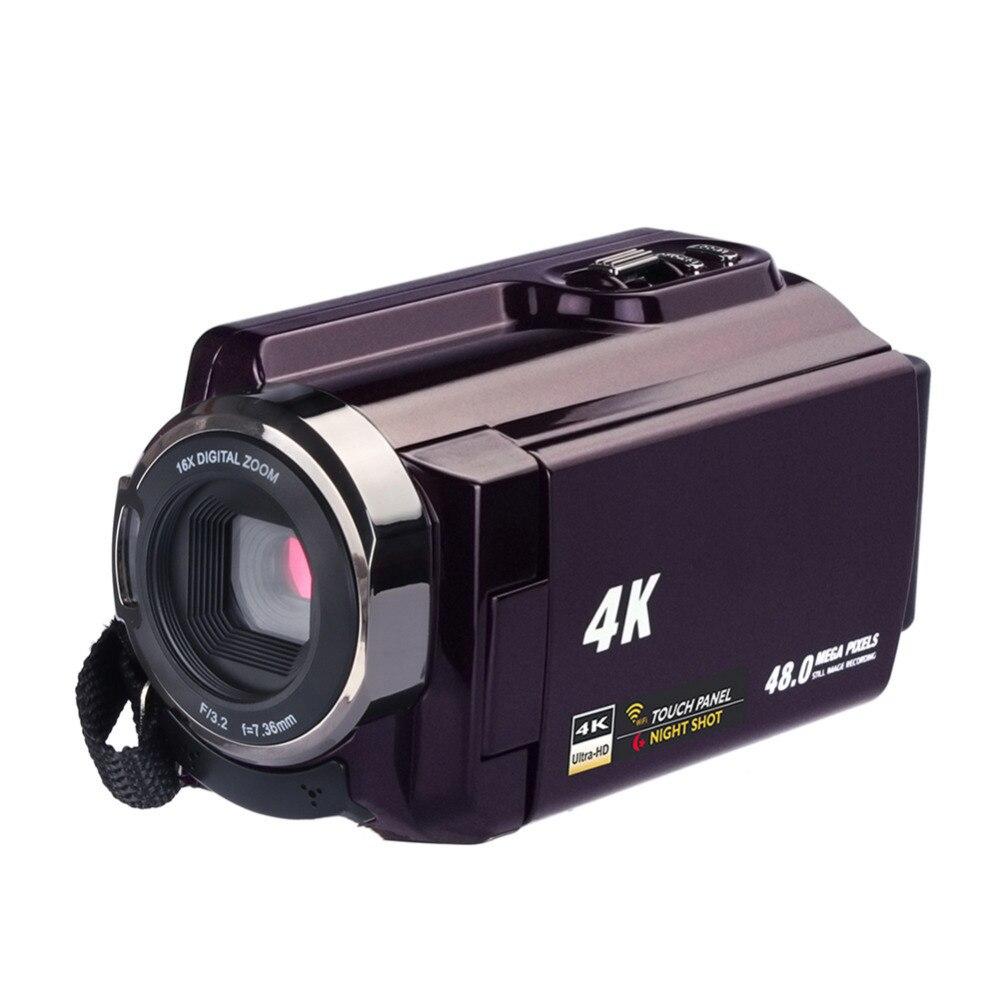 Nouveau 4 K Caméscope Vidéo Caméra Caméscopes Ultra HD Numérique Caméras et Enregistreur Vidéo avec Wifi/Infrarouge Écran Tactile Angle lentille