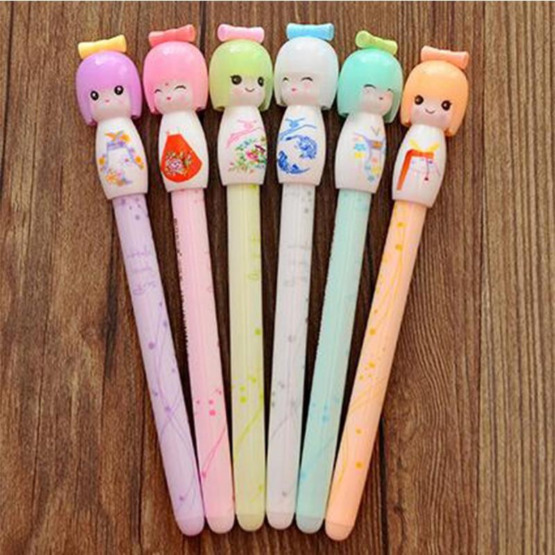 1pcs/Lot  Kawaii Kimono Japanese Girl Doll Gel Pen Writing Signing Stationery fashion Gift School Office Supply 1pcs lot cutie pops gel pen kawaii