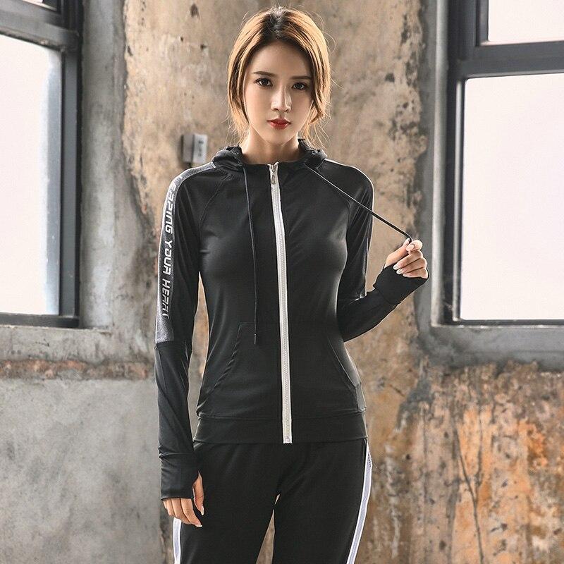 Горячая Женская спортивная куртка с капюшоном для фитнеса спортивная куртка теннисная одежда для футбола спортивная женская баскетбольная Толстовка - Цвет: Черный
