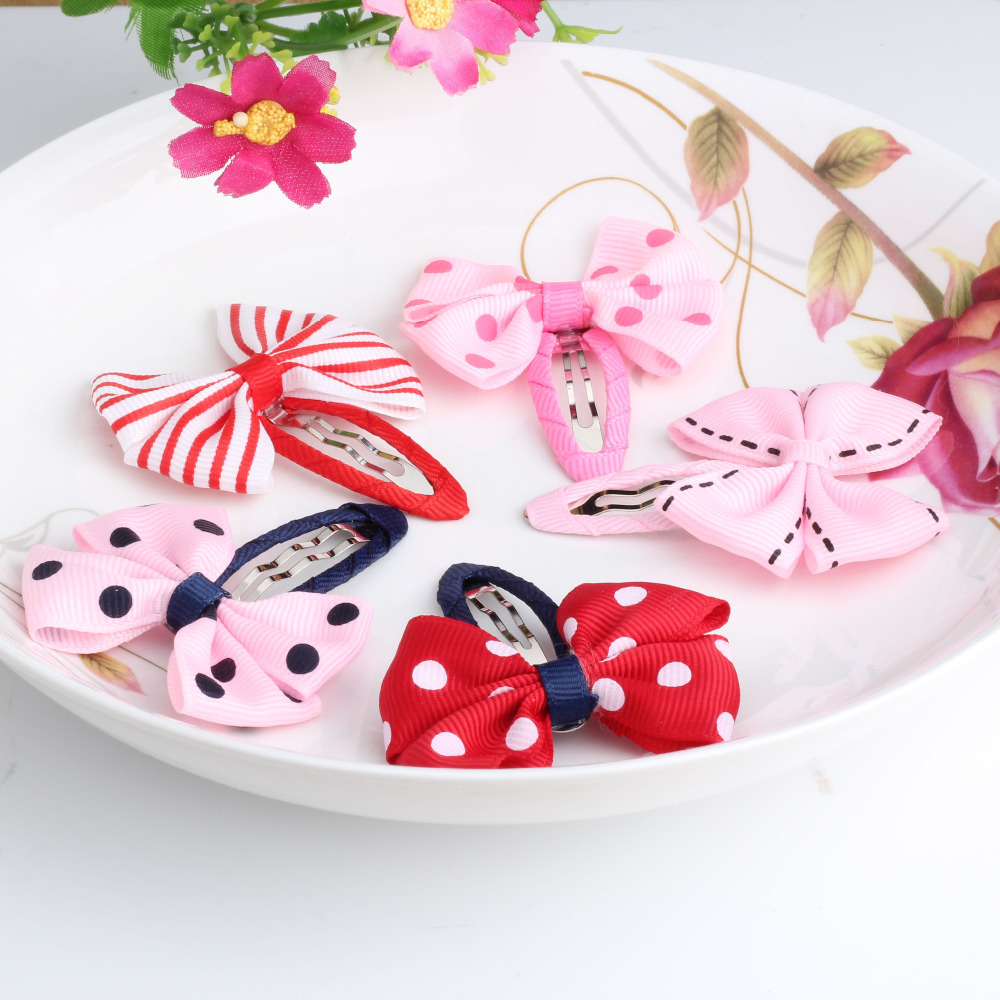 M MISM New Pairs Girls Hair Accessories Candy Color Dot Bow Hairpins Cute BB Accessories Hair Accessories Bowknot Hair Clip m mism new arrival korean style girls hair elastics big bow dot flora ponytail rubber hair rope hair accessories scrunchy women