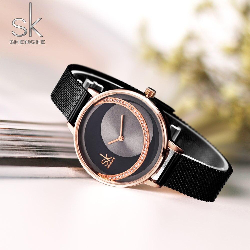 SHENGKE Brand Women Watch Creative Rhinestone Cool Black Stainless Quartz Watches Lady's Fashion Casual Waterproof Gift Clock