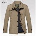 Новый 2016 Весна Англия стиль мужские классические куртки с 100% хлопок сплошной цвет большой размер мужской отдых бизнес пальто